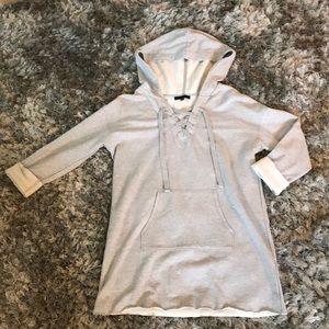 Sanctuary Gray Sweatshirt Dress with Hood